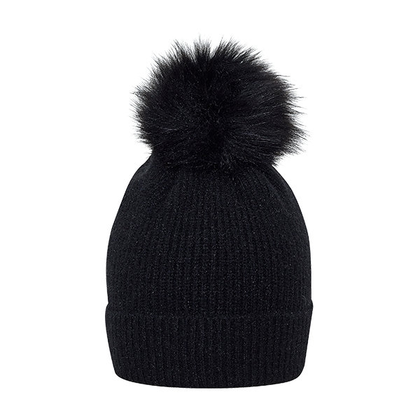 Knitted hat w/fake fur