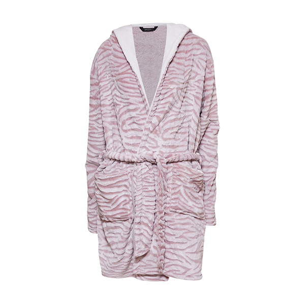 Robe w/hood, zebra rose