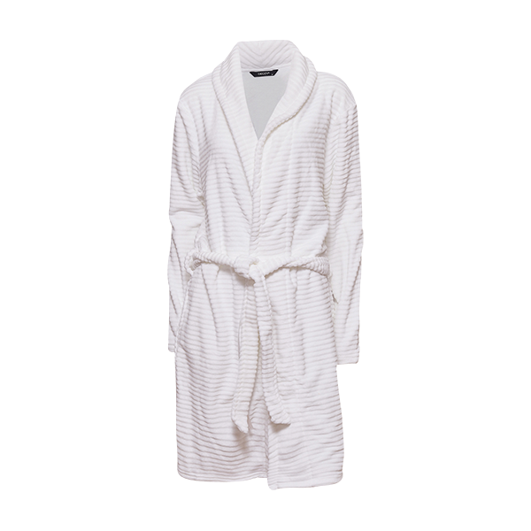 Short robe w/striped look, Ivory