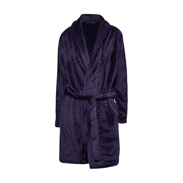 Short robe w/striped look, Midnight blue