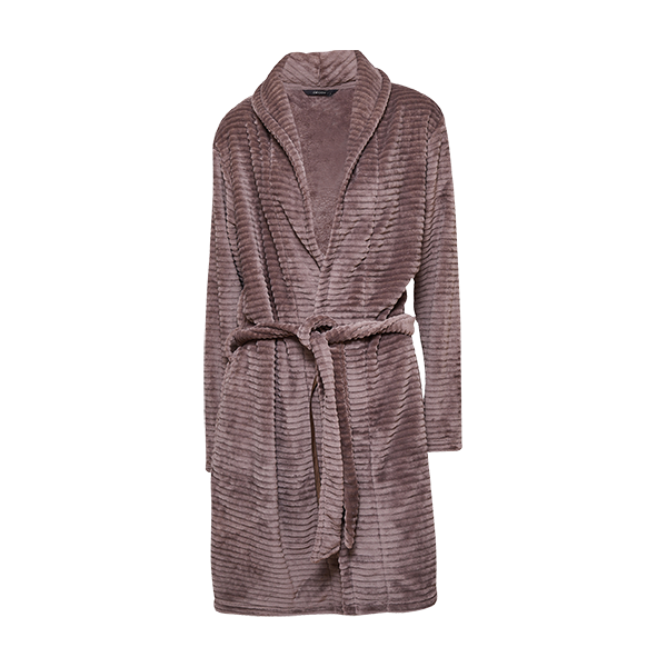Short robe w/striped look, Nougat